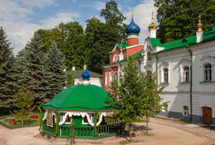 Monastery in Pskov region. Source of holy water on the territory of the Pskov-Caves Monastery Royalty Free Stock Photography