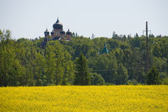 Monastery puhtitsa. Rape field and forest Stock Images
