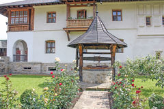 The Monastery Putna. Detail from exterior garden. Royalty Free Stock Photo