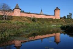 Monastery reflects in Kameka river Stock Photography