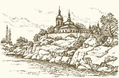 Monastery on the river. Vector drawing Stock Photography