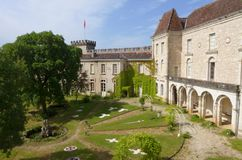 Monastery, Rocamadour, France. A photograph of the ancient medieval monastery grounds and the fortress of the French town of Rocamadour, the most popular and Stock Photography
