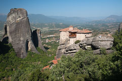 Monastery and rock Meteora Royalty Free Stock Photo