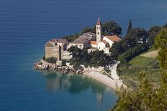 Monastery on the rock in the sea Stock Photography