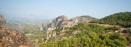 The monastery and rocks. Greece Stock Images