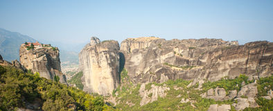 The monastery and rocks. Meteora in Greece Royalty Free Stock Images