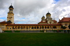 Monastery. In Romania, beautiful colors, hike, explore, sunny day, monument, church towers, a little overcast Stock Photo