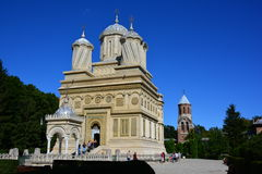 Monastery in Romania. The Cathedral of Curtea de Arges is a Romanian Orthodox cathedral, gardens, blue sky, colors, three, sightseeing, a trip to Romania Stock Images