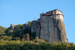 Monastery of Rousanou, Meteora, Greece, in the evening sun stock image