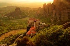 Monastery Roussanou, Meteora, Greece. Wiew on sunset about monastery Roussanou in Greece stock image