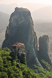 Monastery Roussanou And Rock Meteora, Greece Stock Photos