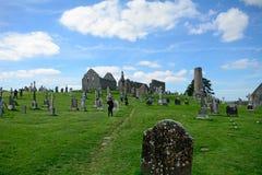 Monastery ruins, Clonmacnoise, Ireland Stock Photos