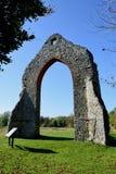 Monastery Ruins, Wymondham Abbey, Norfolk, England. Ruined arch at Wymondham Abbey, Norfolk, UK. The Abbey serves as the parish church of Wymondham, but it stock photos