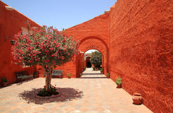 The Monastery of Saint Catherine (Santa Catalina), Arequipa, Peru. It belongs to the Dominican Second Order. It's built predominantly in the Mudejar style in stock photography