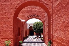 The Monastery of Saint Catherine. (Spanish: Santa Catalina) is a monastery of nuns of the Domincan Second Order, located in Arequipa, Peru. It was built in 1580 stock image