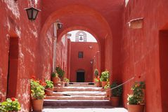 The Monastery of Saint Catherine. (Spanish: Santa Catalina) is a monastery of nuns of the Domincan Second Order, located in Arequipa, Peru. It was built in 1580 royalty free stock photo