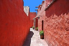 The Monastery of Saint Catherine. (Spanish: Santa Catalina) is a monastery of nuns of the Domincan Second Order, located in Arequipa, Peru. It was built in 1580 royalty free stock image