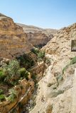 Trail to the monastery of Saint George of Choziba in the Holy La. The monastery of Saint George of Choziba in Judaean Desert near Jericho in the Holy Land Royalty Free Stock Photo