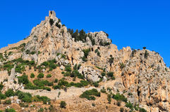Monastery Saint Hilarion Castle. On mountain in Cyprus stock photos