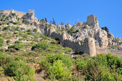 Monastery Saint Hilarion Castle. On mountain in Cyprus royalty free stock photo