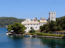 Monastery of Saint Mary, Mljet, Croatia. Monastery of Saint Mary in National Park Mljet, Croatia on the islet in the Big Lake Royalty Free Stock Image