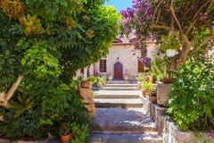 The monastery Kremaston, Crete, Greece. Monastery of Saints Michael and Gabriel - Kremaston Kremasti, Kremasta Crete, Greece. The monastery Kremaston was founded stock image