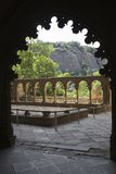 The Monastery of San Juan de la Pena, Jaca, in Jaca, Huesca, Spain, carved from stone under a great cliff.  It was originally buil Stock Photo