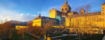 Royal Monastery near Madrid Spain. The Monastery of El Escorial is the most prominent building in the town of San Lorenzo de El Escorial. It is one of the main Stock Photography