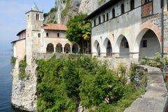 The monastery of Santa Caterina del sasso on lake maggiore Royalty Free Stock Image