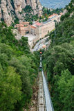 Monastery of Santa Maria de Montserrat and funicular railway Stock Images