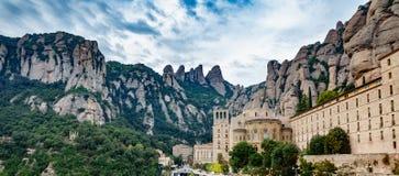Monastery of Santa Maria de Montserrat and mountain Royalty Free Stock Photo