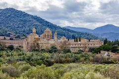 Monastery of Santa Maria de Poblet overview. Monastery of Santa Maria de Poblet, Catalonia, Spain overview royalty free stock photos