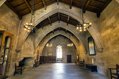 Monastery of Santa Maria de Poblet flags room Royalty Free Stock Photography