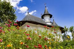 Sihastria Monastery in Romania on a sunny day royalty free stock images