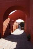 Monastery silence corridor stock photography