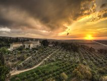 Monastery of Silence in Latrun, at sunset, near Jerusalem, Israel Stock Images