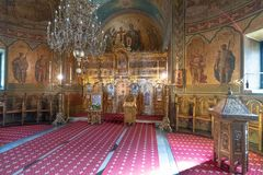In the main temple of the Sinai Monastery in Romania stock photography