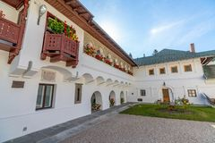 In the inner courtyard of the Sinai Monastery in Romania stock image