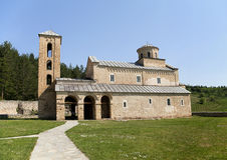 Monastery Sopocani. Orthodox monastery Sopocani in Serbia on a sunny day Stock Photos
