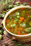 Monastery soup with beans. Served in brown bowl Royalty Free Stock Photos