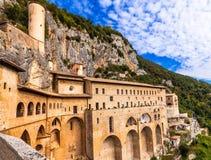 Monastery of St. Benedict near Subiaco, Lazio, Italy Stock Photos