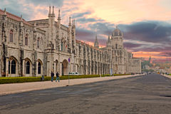The Monastery of St. Jeronimos in Lisbon Portugal at sunset Royalty Free Stock Photos