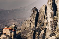 Monastery of St. Nicholas Anapausas Meteora, Greece royalty free stock image