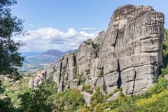 Monastery of St. Nicholas Anapavsa panoramic view, Meteora Monasteries, Trikala, Thessaly, Greece Royalty Free Stock Photo