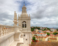 Monastery St. Vincent Outside the Walls, Lisboa. White roof  with decorations and bell tower in mannerist style of famous church and cloister Sao Vicente de Fora Stock Image