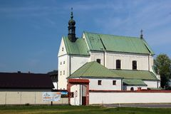 The monastery in Stalowa Wola, Poland. Stalowa Wola, Poland - April 29, 2018: The monastery of the Order of Friars Minor Capuchins, belonging to the parish of stock photos