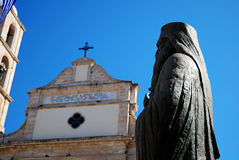 Monastery and statue in Chania Royalty Free Stock Image