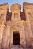 Monastery Petra. Monastery stone monument in  Petra Jordan Royalty Free Stock Photo