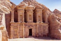Monastery Petra. Monastery stone monument in  Petra Jordan Royalty Free Stock Photography