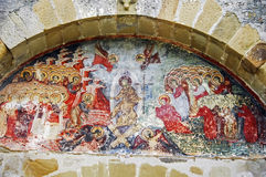 The Monastery Sucevita. Paint. The Monastery Sucevita, Moldavian Region. Exterior Paint of Jesus with archangels Royalty Free Stock Images
